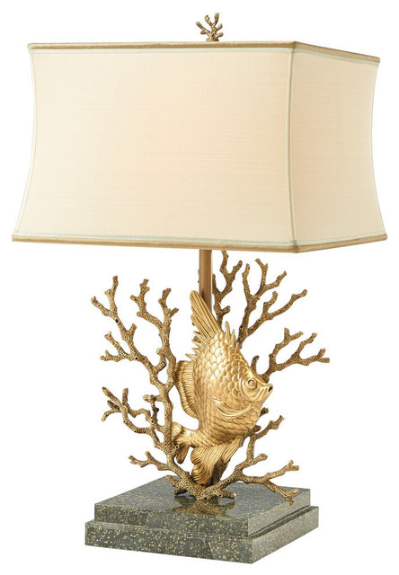 Finely Cast Brass Fish And Coral Table Lamp Beach Style Table Lamps