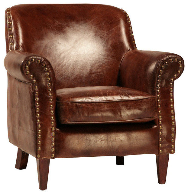 Petite Leather Club Chair traditional - Petite Leather Club Chair - Traditional - By Mortise & Tenon