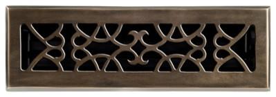 Victorian Solid Cast Brass Floor Register, Antique Brass Finish.