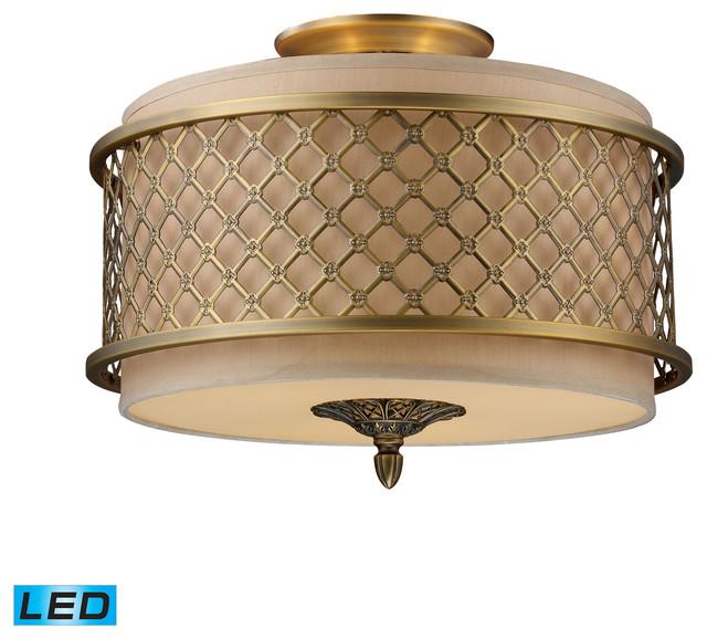 Led Ceiling Lights Antique Brass : Chester light led semi flush brushed antique brass