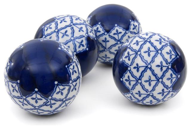 """4"""" Blue and White Medallions Porcelain Ball Set"""