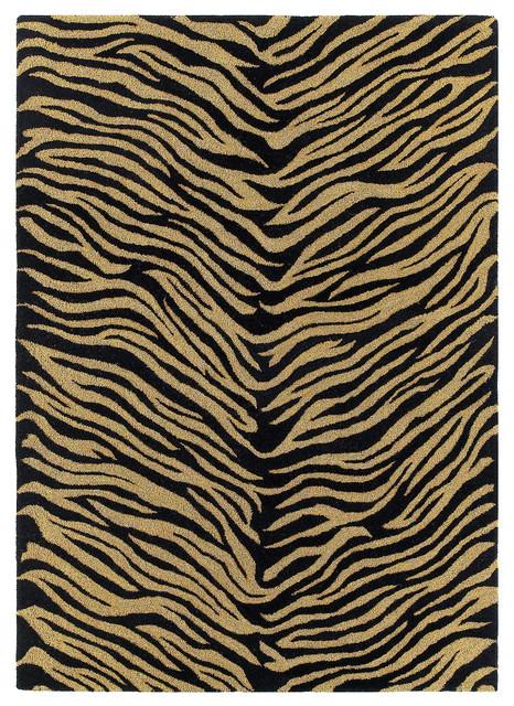 animal print blackgold wool rug khazana