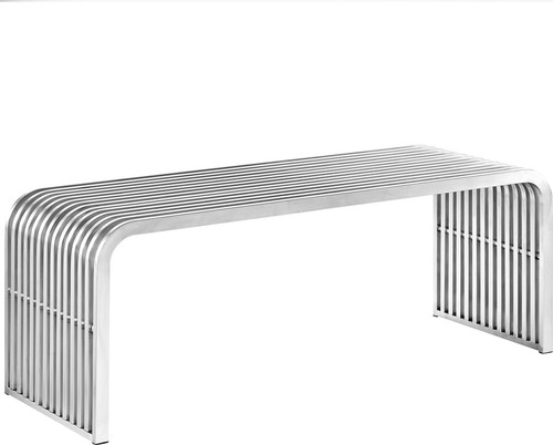 Chillesford Stainless Steel Bench, Silver, Small