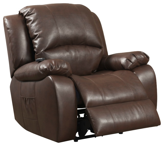 Brown reconstituted leather reclining chair with shiatsu for Shiatsu massage chair recliner