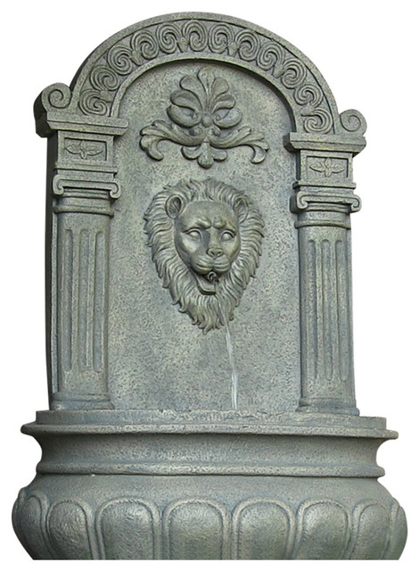 Sunnydaze Imperial Lion Solar Wall Fountain 32 Tall Color Options Available Traditional Outdoor Fountains And Ponds By Serenity Health Home Decor