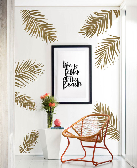 Metallic Wall Decals palm leaves wall decal - tropical - wall decals -simple shapes