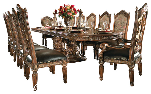 8-piece villa valencia dining room table set with china