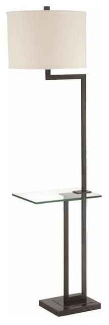 """Rudko 64"""" One Light Floor Lamp Dark Bronze Clear Glass White Fabri."""