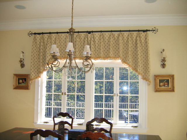 Wrought Iron Cornice : French top pleat shaped valance on wrought iron rod