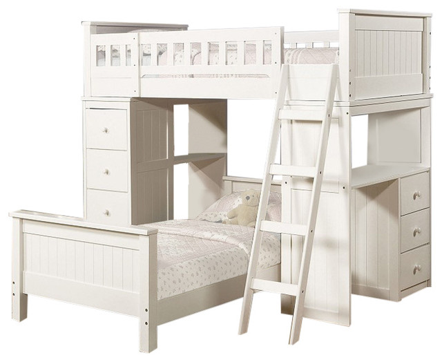 White Twin Size Loft Bunk Bed Chest Desk All In 1 And Under