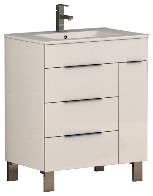 Geminis Modern Bathroom Vanity With White Integrated Porcelain Sink