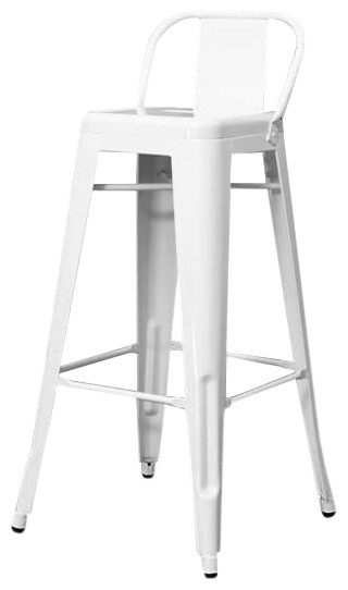 Industrial Bar Stool With Back Rest, White
