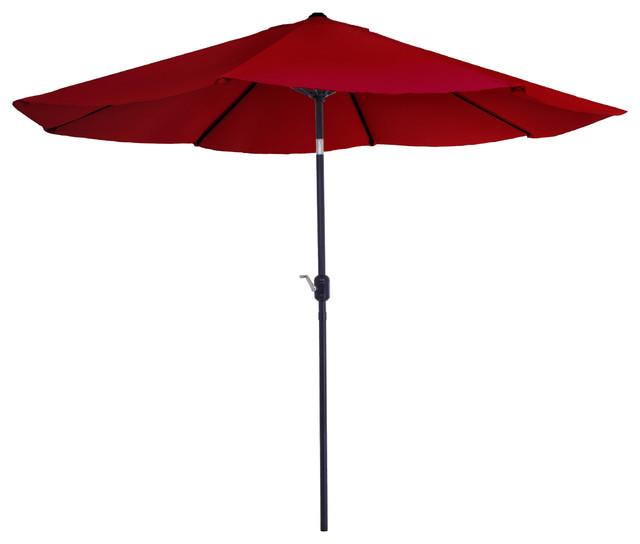 Aluminum Patio Umbrella With Auto Tilt Red Contemporary