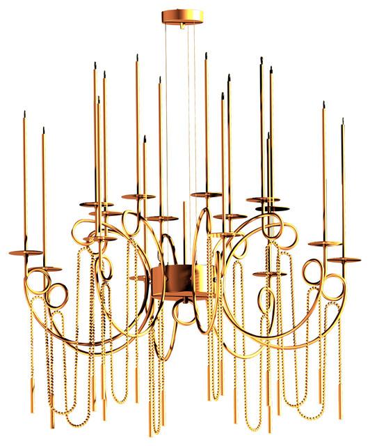 Calligrafico Nity 16-Arm Pendant Lamp, Gold, 81 Cm