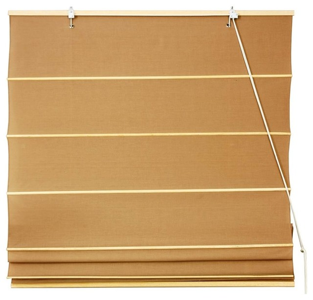 "Light Brown Cotton Roman Shades Blinds With Grommets, 60""."