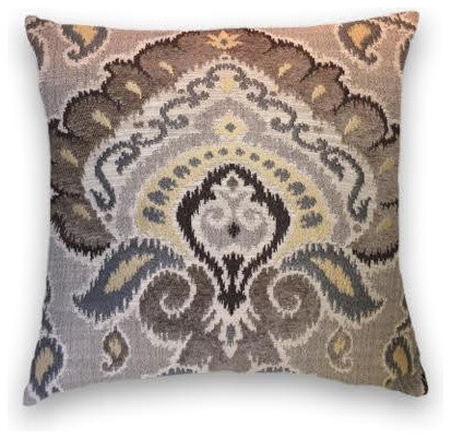 Brown grey yellow throw traditional decorative pillows by cody amp cooper designs