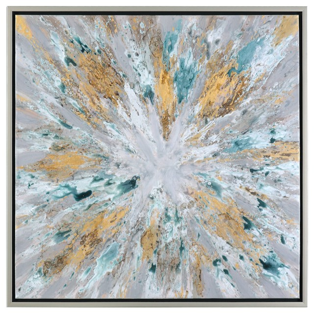 "Color Burst Large 40"" Wall Art, Abstract Sunburst Yellow Gray Silver"