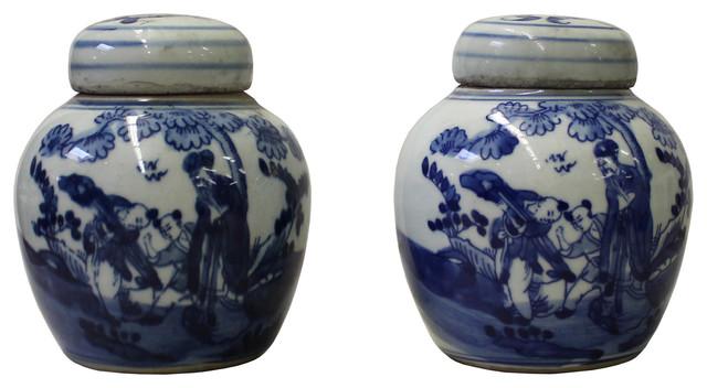 Blue White Small Oriental Graphic Porcelain Ginger Jars 2 Piece Set