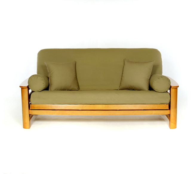 Solid Color Full Size Futon Cover Olive
