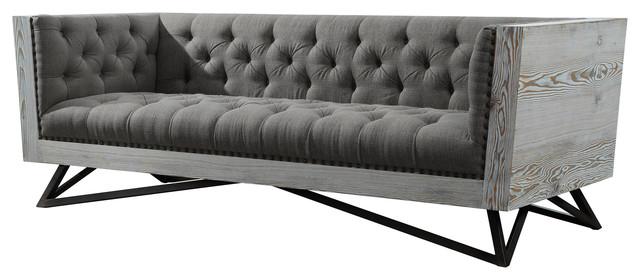 Regis Contemporary Sofa, Gray Fabric With Black Metal Legs