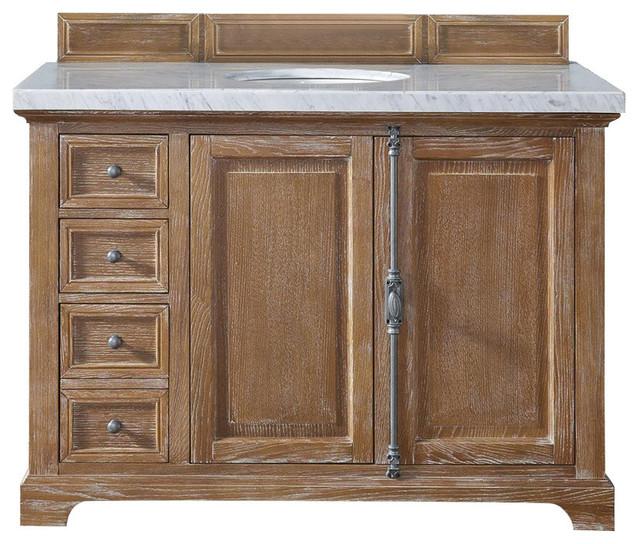 "Providence Single Vanity, Driftwood, Carrara White Marble Top, 48""."