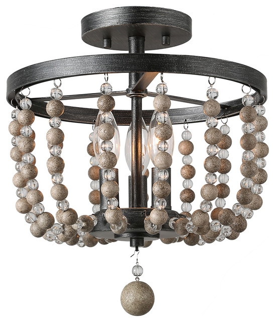 Farmhouse 3 Light Semi Flush Ceiling Lights Distressed Wood Beads