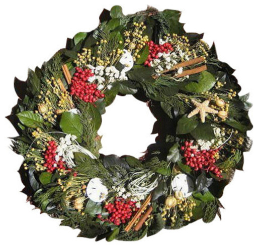 Nautical Christmas Wreath.Winter Harbor Preserved Coastal Holiday Wreath 22