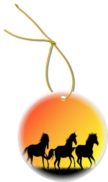 Galloping Horses Silhouette Design Round Porcelain Christmas Ornament