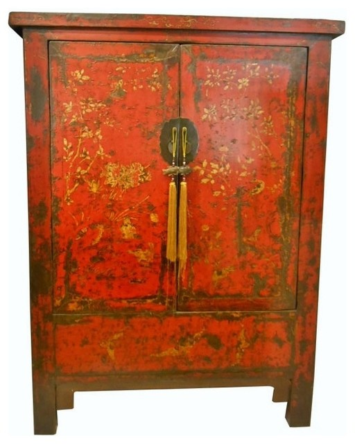 Consigned Chinese Antique Red Wedding Chest With Golden