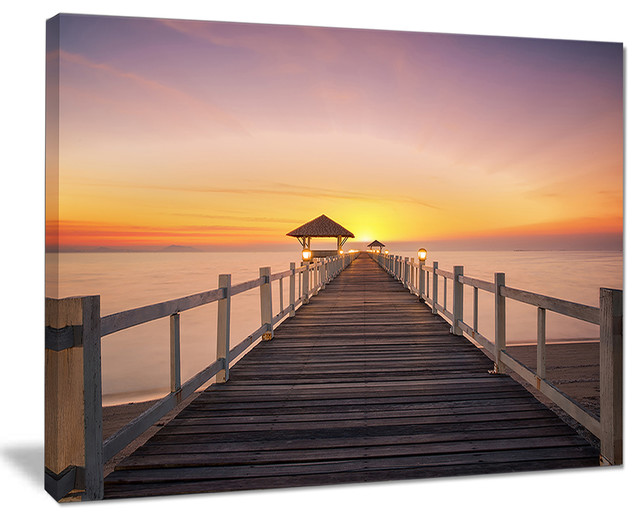 Wide Wooden Bridge Into The Sea Sea Pier Wall Art Canvas Print Beach Style Prints And Posters By Design Art Usa