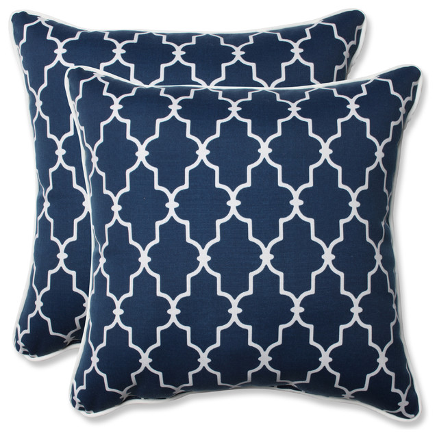 Navy Throw Pillow Sets : Pillow Perfect - Garden Gate Navy Oversized Rectangular Throw Pillow, Set of 2 & Reviews Houzz