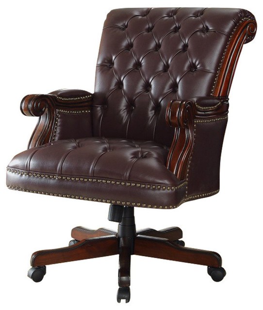 Leather Office Chair, Dark Brown   Traditional   Office Chairs   By Uber  Bazaar