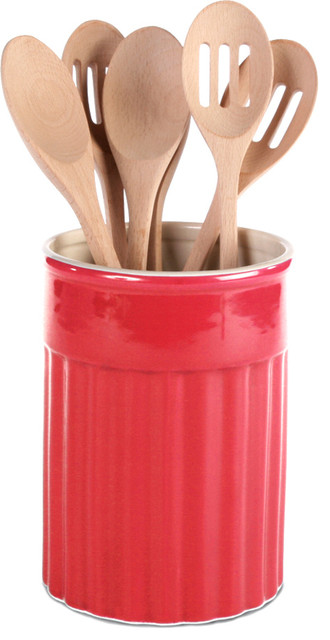 OmniWare Simsbury Red Stoneware Kitchen Utensil Crock