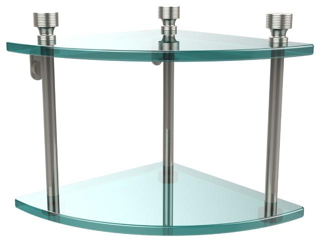 Double Corner Glass Shelf Contemporary Bathroom Cabinets Shelves