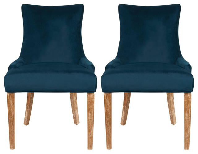 Safavieh Amanda Dining Chairs, Set of 2, Navy Cotton
