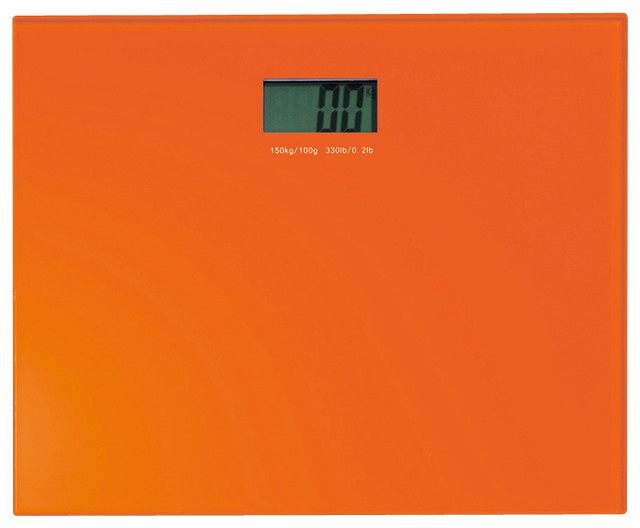 Square Electronic Bathroom Scale, Orange Contemporary Bathroom Scales