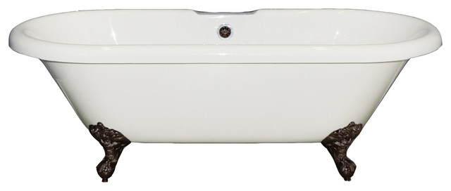 "60"" Acrylic Double Ended Clawfoot Tub No Faucet Holes ""jackson""."