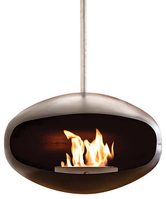 Cocoon Aeris Hanging Fireplace Black Modern Indoor Fireplaces