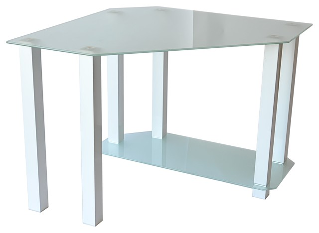 Frosted Glass Gloss White Corner Computer Desk   Modern   Desks And Hutches    By RTA Home And Office
