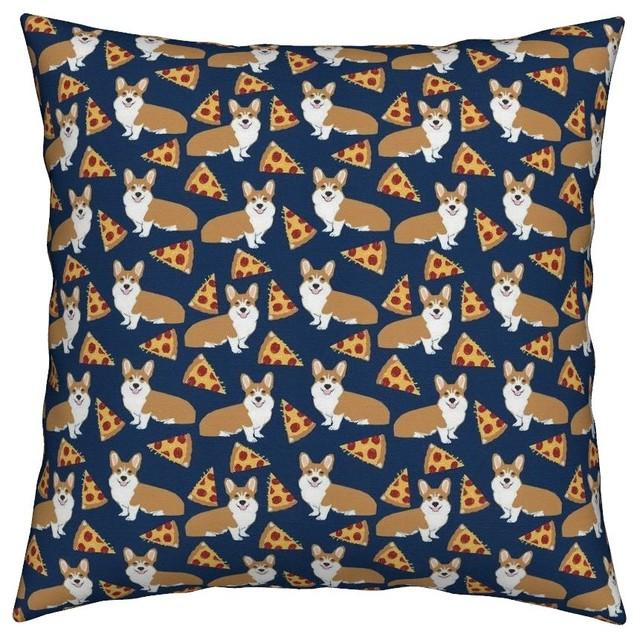 Corgi Corgis Dogs Cute Pizza Food Pet Throw Pillow Contemporary Decorative Pillows By Roostery