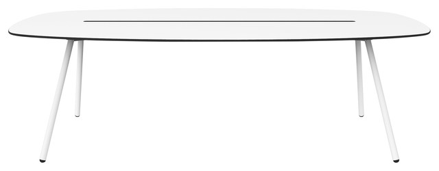 Large A-Lowha Long Board Table, White, White Frame