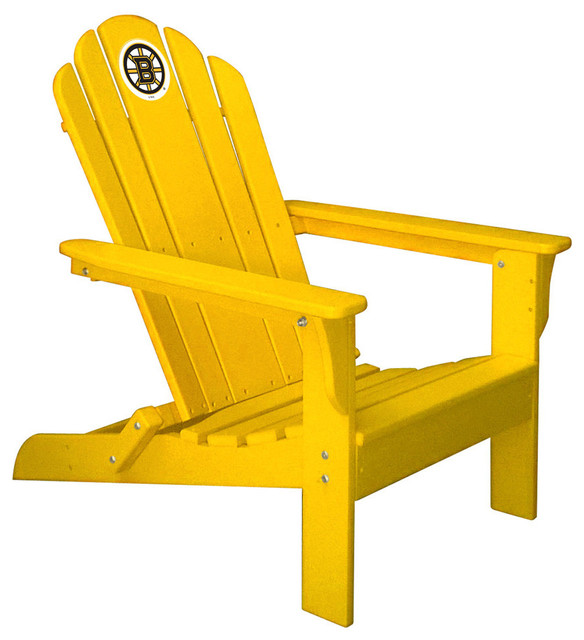Boston Bruins Folding Composite Adirondack Patio Chair, Gold Contemporary  Adirondack Chairs