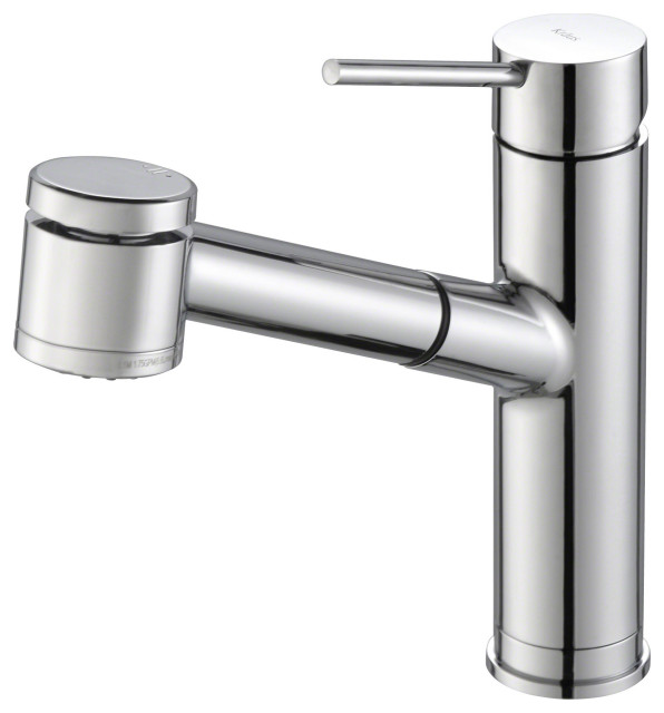 Oletto Pullout 1-Handle 1-Hole Kitchen Faucet, 2-Function, Chrome