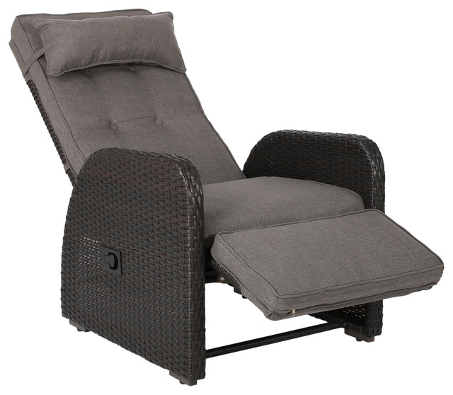 Odina Brown Outdoor Recliner With Cushion.