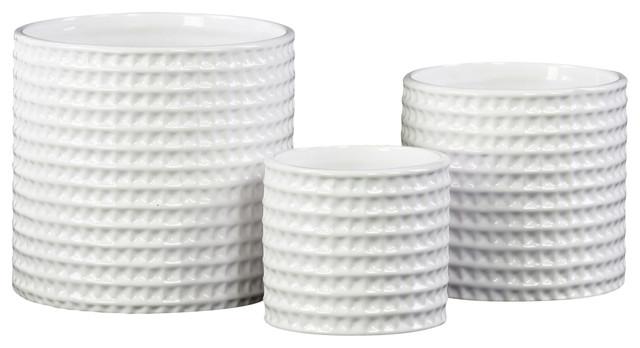 Round Ceramic Flower Pots, 3-Piece Set - Contemporary - Indoor ...