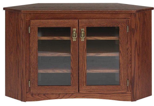 Mission Style Solid Oak Corner Tv Stand Traditional