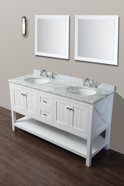 Emily 60 bathroom vanity cottage style white beach style bathroom vanities and sink for Cottage vanities for bathroom