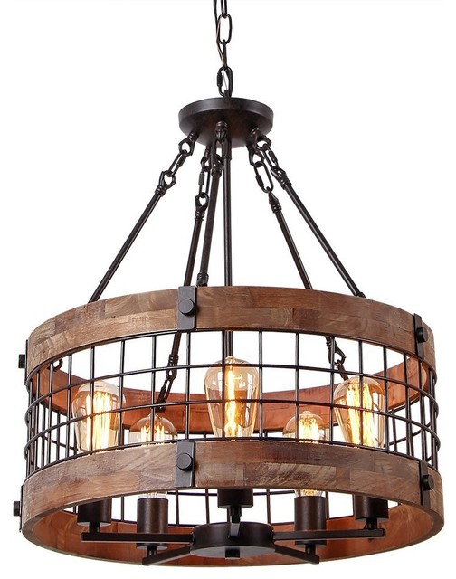 5 Lights Wooden Chandelier Rope And Metal Pendant Light
