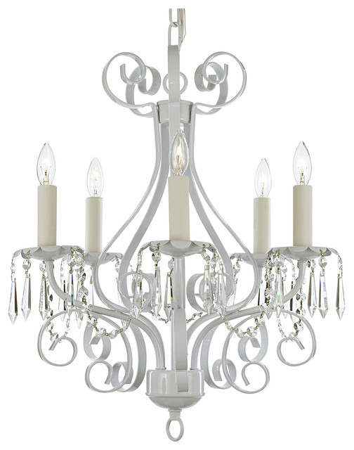 White wrought iron crystal chandelier country french 5 light pendant white wrought iron crystal chandelier country french 5 light pendant lamp aloadofball Images