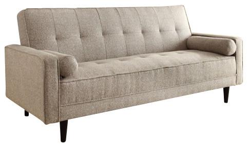 Edana Linen Convertible Sleeper Sofa Sand Contemporary Sleeper Sofas by AMB FURNITURE